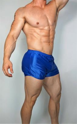 MEN'S BLUE RUNNING NYLON SHORTS WITH BUILT IN BRIEF