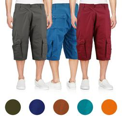 Men's Cotton Cargo Shorts Relaxed Fit With Multiple Button F